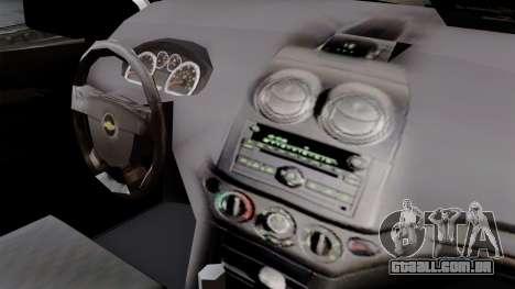 Chevrolet Aveo Taxi Poza Rica para GTA San Andreas vista direita