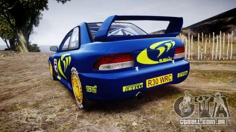 Subaru Impreza WRC 1998 World Rally para GTA 4 traseira esquerda vista