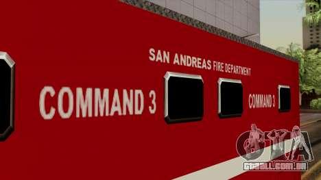 FDSA Mobile Command Post Truck para GTA San Andreas vista direita