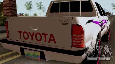 Toyota Hilux 2014 para GTA San Andreas vista traseira