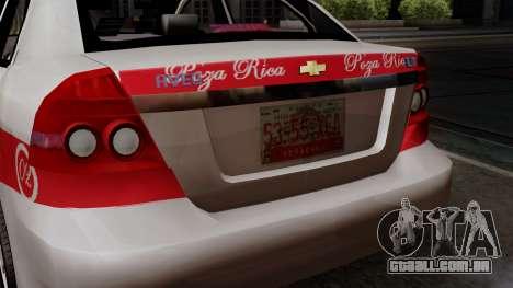 Chevrolet Aveo Taxi Poza Rica para GTA San Andreas vista traseira