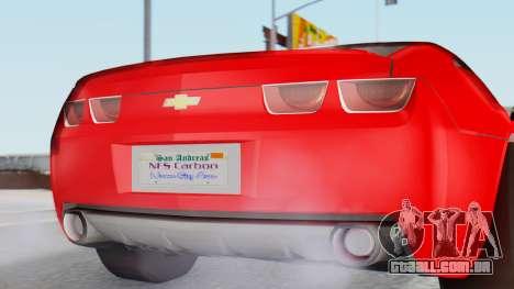 NFS Carbon Chevrolet Camaro para GTA San Andreas vista traseira
