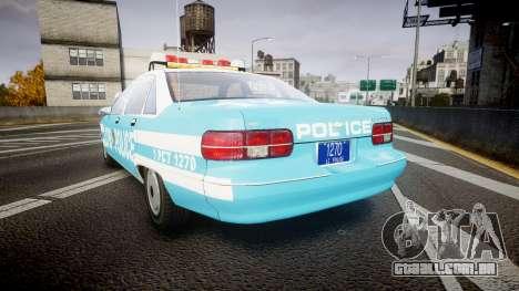 Chevrolet Caprice 1991 Police para GTA 4 traseira esquerda vista