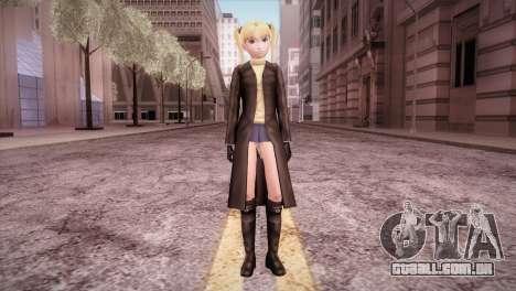 Leather Coat Short Skirt Ani para GTA San Andreas segunda tela