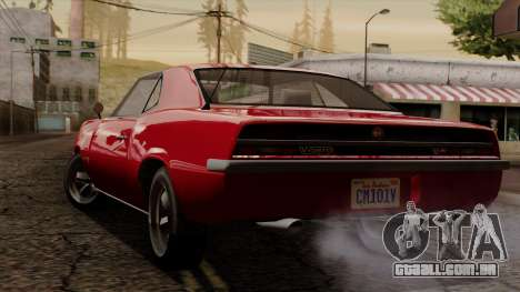 GTA 5 Declasse Vigero IVF para GTA San Andreas traseira esquerda vista