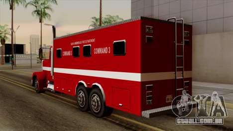FDSA Mobile Command Post Truck para GTA San Andreas esquerda vista