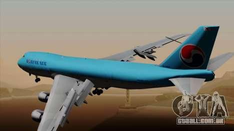 Boeing 747 Korean Air para GTA San Andreas esquerda vista