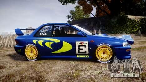 Subaru Impreza WRC 1998 World Rally para GTA 4 esquerda vista
