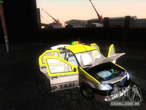 Dacia Logan Táxi UNIVIP para GTA San Andreas traseira esquerda vista