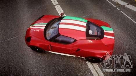 Alfa Romeo 4C 2014 SBK Safety Car para GTA 4 vista direita