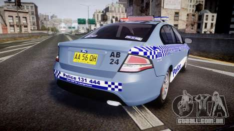 Ford Falcon FG XR6 Turbo NSW Police [ELS] v2.0 para GTA 4 traseira esquerda vista