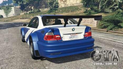 GTA 5 BMW M3 GTR E46 Most Wanted v1.3 traseira vista lateral esquerda