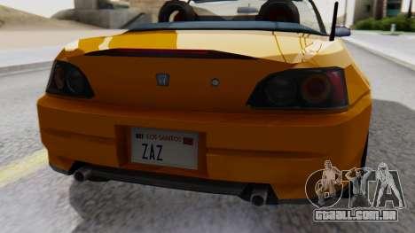 Honda S2000 Fast and Furious para GTA San Andreas vista traseira
