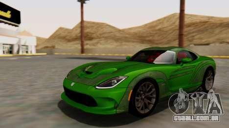 Dodge Viper SRT GTS 2013 HQLM (MQ PJ) para GTA San Andreas vista traseira
