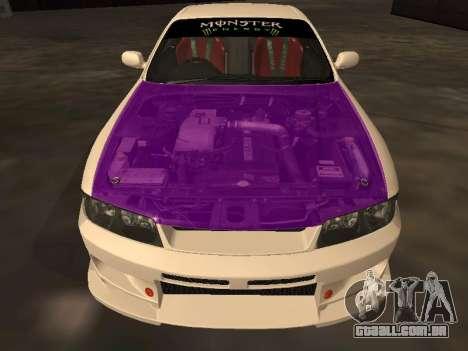 Nissan Skyline R33 Drift Monster Energy JDM para GTA San Andreas vista inferior