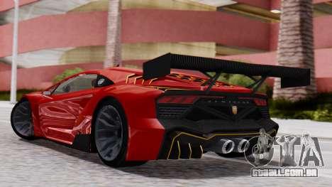 Pegassi Zentorno SM GT3 para GTA San Andreas esquerda vista