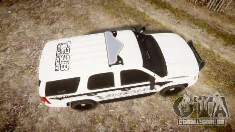 Chevrolet Tahoe 2013 New Alderney Sheriff [ELS] para GTA 4 vista direita