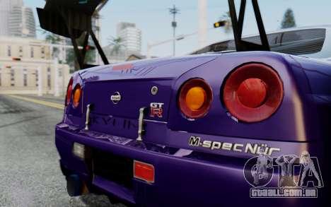 Nissan Skyline GT-R R34 Battle Machine para GTA San Andreas traseira esquerda vista