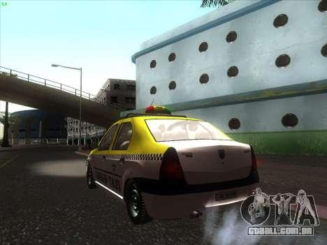 Dacia Logan Táxi UNIVIP para GTA San Andreas esquerda vista