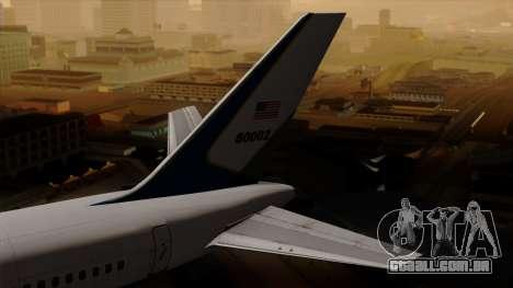 Boeing C-32 Air Force Two para GTA San Andreas traseira esquerda vista
