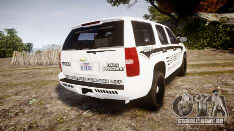 Chevrolet Tahoe 2013 New Alderney Sheriff [ELS] para GTA 4 traseira esquerda vista