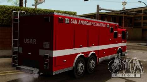 FDSA Urban Search & Rescue Truck para GTA San Andreas esquerda vista
