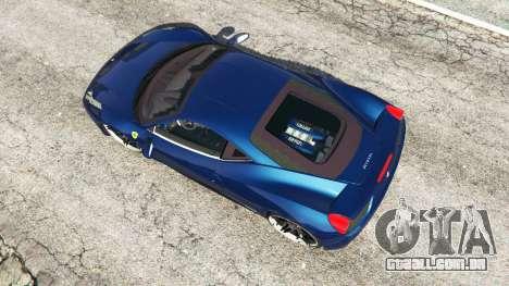 GTA 5 Ferrari 458 Italia v1.0.5 voltar vista