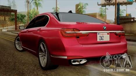 BMW 7 2015 para GTA San Andreas esquerda vista