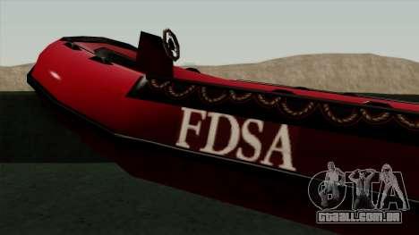 FDSA Dinghy para GTA San Andreas traseira esquerda vista