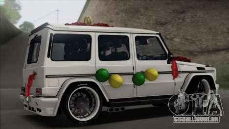 Mercedes Benz G65 Hamann Tuning Wedding Version para GTA San Andreas vista direita