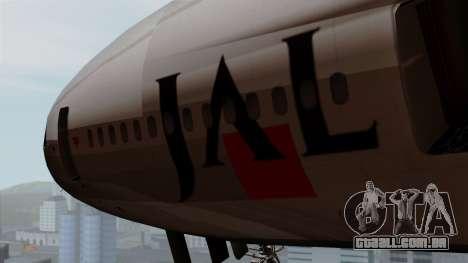 DC-10-30 Japan Airlines para GTA San Andreas vista traseira
