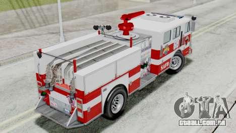 MTL SAFD Firetruck Flat Shadow para GTA San Andreas traseira esquerda vista