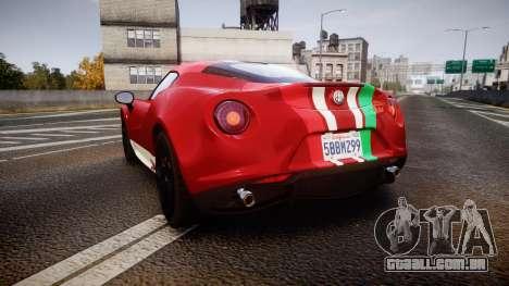 Alfa Romeo 4C 2014 SBK Safety Car para GTA 4 traseira esquerda vista