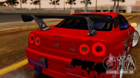 Nissan Skyline R34 Drift Monkey para GTA San Andreas vista traseira