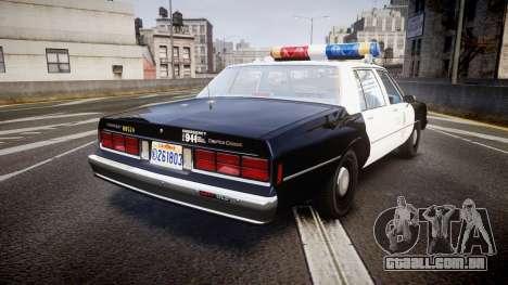 Chevrolet Caprice 1989 LAPD [ELS] para GTA 4 traseira esquerda vista