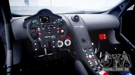 McLaren MP4-12C GT3 blank liveries para GTA 4 vista interior