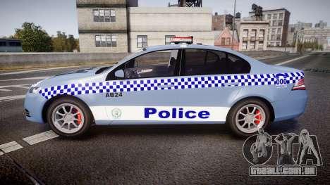 Ford Falcon FG XR6 Turbo NSW Police [ELS] v2.0 para GTA 4 esquerda vista