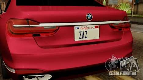 BMW 7 2015 para GTA San Andreas vista traseira