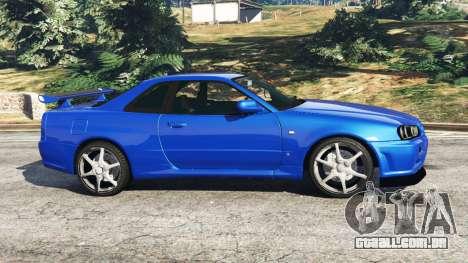 GTA 5 Nissan Skyline R34 GT-R v0.1 vista lateral esquerda