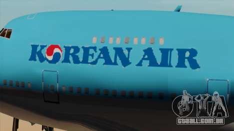 Boeing 747 Korean Air para GTA San Andreas vista traseira