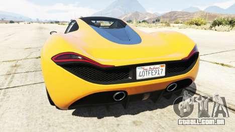GTA 5 Progen T20 McLaren P1 traseira vista lateral esquerda