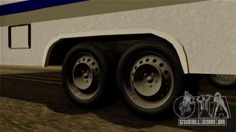 Camper Trailer para GTA San Andreas traseira esquerda vista