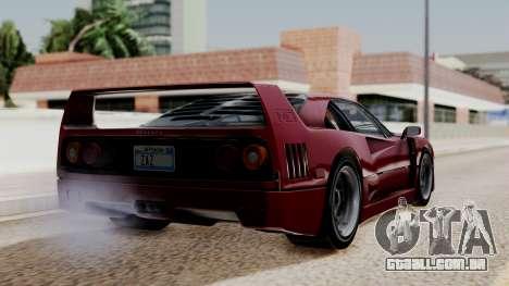 Ferrari F40 1987 without Up Lights IVF para GTA San Andreas esquerda vista