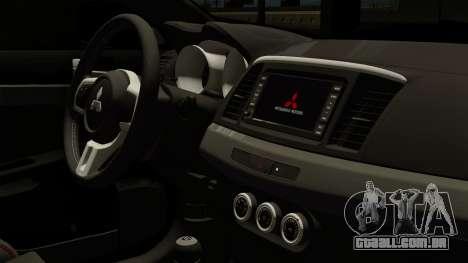 Mitsubishi Lancer Evolution X FQ400 Pro para GTA San Andreas vista direita