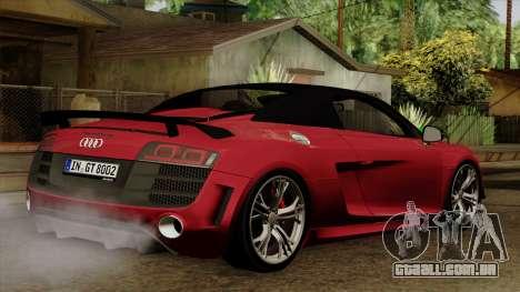 Audi R8 GT Spyder 2012 para GTA San Andreas esquerda vista
