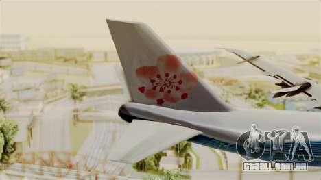 Boeing 747-200 China Airlines Dreamliner para GTA San Andreas traseira esquerda vista