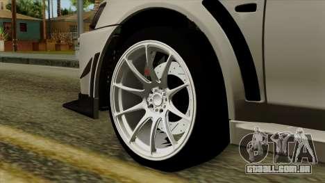 Mitsubishi Lancer Evolution X FQ400 Pro para GTA San Andreas traseira esquerda vista