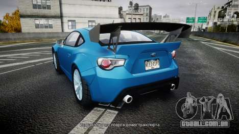 Subaru BRZ Rocket Bunny para GTA 4 traseira esquerda vista