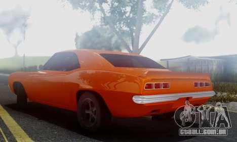 Chevy Camaro 69 para GTA San Andreas traseira esquerda vista