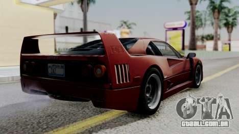 Ferrari F40 1987 with Up Lights IVF para GTA San Andreas esquerda vista